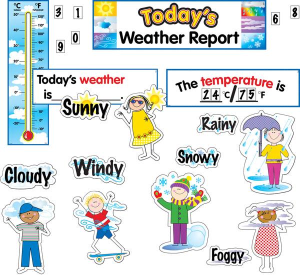 Class Decoratives : Stick Kids Weather Mini Bulletin Board Set