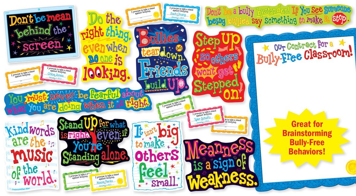 Free Classroom Decoration Resources ~ Character bulletin our bully free classroom board